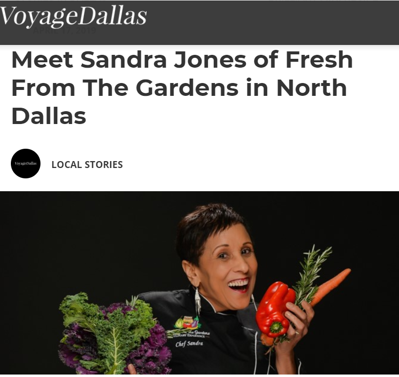 Clip of VoyageDallas article on Chef Sandra Jones from Fresh from the Gardens