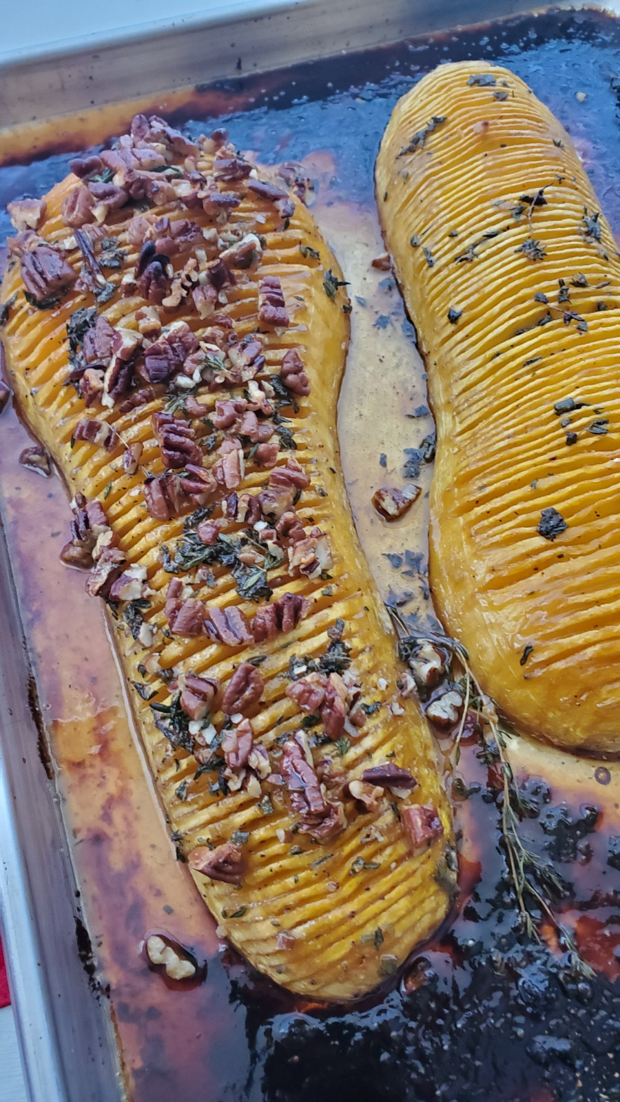 Maple and Orange Hasselback Butternut Squash